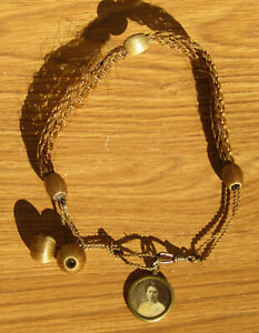 Fine Antique Victorian Mourning Brown Hair Jewelry Necklace w/Picture-Very Nice