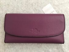 NWT COACH CHECKBOOK WALLET IN PEBBLE LEATHER STYLE: F56488 Mauve Purple