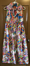 VTG 1970s Mod Maxi Dress Floral Groovy Hippie Summer Beach Garden Party SIZE 10