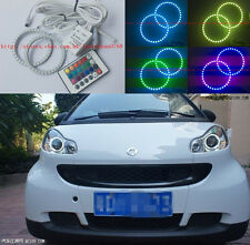 2X RGB Multi-Color Angel Eyes kit For Smart Fortwo W451 Mk2 2008 2009 2010 -2014