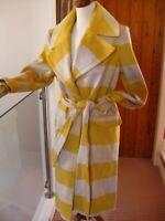 NEW MISS SELFRIDGE yellow check block wool belted wrap robe COAT 14 16 duster