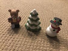 Homco Christmas Figure Set 5101 Snowman Bear And Tree In Original Box