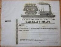 1830 Railroad Stock Certificate - Lawrenceburgh & Indianapolis Rail-Road Company