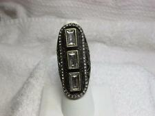 Avon Mark 2013 Deco Appeal CZ Stone Elongated Antiqued Gold Tone Ring Sz 6.5 NOS