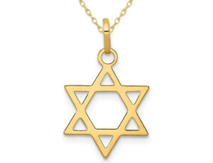 Details about  /14k 14kt White//Yellow Two-tone Gold Star of David Pendant 31 mm X 20 mm