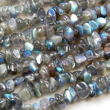 "5-12mm A++ Natural Gray Flash Labradorite Gemstone Nugget Freeform Chip Bead 34"""