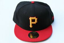 59FIFTY Pittsburgh Pirates New Era Fitted Hat Black/Red Size 7 1/4 MLBBaseball