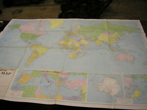 Large 1970 Daily Express World Map. George Philip London. 4ft x 3ft.