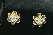 Vintage 10K White and Yellow Gold Diamond Flower Earrings