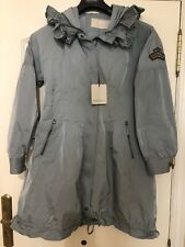 ERMANNO SCERVINO STREET Polvere Cappotto blu con cappuccio IT 44 UK 14 EUR 42 44 NUOVO CON ETICHETTA