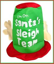 Christmas TOP HAT with ANTLERS I'm on Santa's Sleigh Team Unisex Mens Womens 1sz