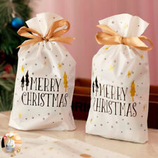 10pcs Year Christmas Drawstring Bags Cookies Candy New Pouches Gift Resealable