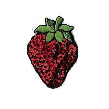 Strawberry - Fruit - Garden - Sequin - Iron On Applique Patch