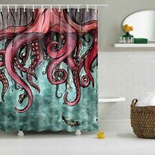 Octopus Tako Abstract Art Design Polyester Fabric Shower Curtain 12 Hooks