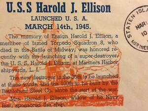 USS HAROLD J HARRISON (BATTLE OF MIDWAY KIA) 1945 NAVAL POSTAL HISTORY COVER