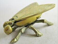 More details for charming brass fly ashtray / pin dish with hinged wings. 8cm long