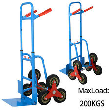6 Wheel Stair Climber Cart Climbing Flat Bed Sack Truck Hand Trolley Heavy Duty