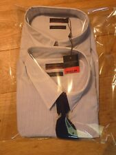Pierre Cardin 2 Pack Mens Long Sleeve Shirts + Tie Size XL BNWT Pale Blue/Stripe