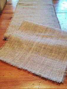Natural Burlap Table Runner with Fringed Edge - Various Sizes - FREE SHIP!