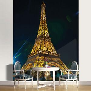 Vlies Fototapete Paris Eiffelturm Stadt Nacht Modern Wohnzimmer Tapete XXL 231