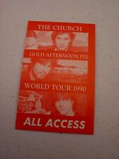 The Church Gold Afternoon Fix World Tour 1990 All Backstage Concert Pass Red