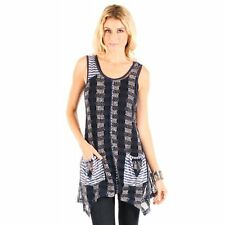 Aster by Firmiana Open Knit Bohemian Blue Sleeveless Top Size XL