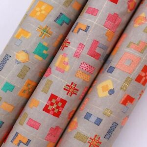 "100% Rayon Fabric, Geometric Drop, High Quality, 44"""