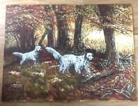 ORIGINAL OIL Board 2 Dog Hunting LANDSCAPE PAINTING 24x18 Fall D Bryant