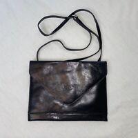 Rowallan Scotland Black Cross Body / Clutch Leather Bag
