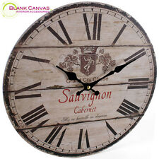 Vintage French Style Shabby Cabernet Sauvignon Kitchen Wall Clock - NEW