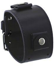 Rev BOS-KL Boss Series 24mm Lug Width Wide Black Leather Cuff Wrist Watch Band