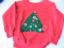 CHRISTMAS TREE PULLOVER SWEATSHIRT~Size 4 with ornaments, crochet & knit *OOAK