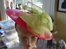 SPECTACULAR  JENDI HOT PINK & LIME  SINNAMAY HAT-New