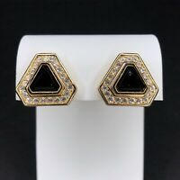 Vtg Christian Dior Gold Tone Earrings Black Glass Crystals Triangle Clip On