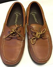 STJOHN'S BAY Mens Brown Leather Boat Deck Shoes Size 10M EUC