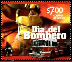 2879 MEXICO 2014 DAY OF FIREFIGHTER, TRUCK, TRANSPORT, MNH
