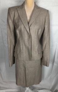 NWT $290 Ann Taylor Sz 12/ 14 Beige Business Skirt Suit Skirt Sz14 Blazer Sz 12