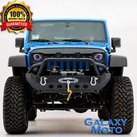 Black Heavy Duty Rock Crawler Front Bumper+Winch Plate fit 07-18 Jeep Wrangler