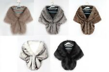 Womens Faux Fur Shawl Cloak Cape Coat Wrap Stole Winter Warm Dress Wedding