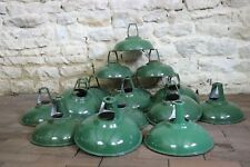 Old Vintage Coolicon Green Metal Industrial Lamp Shades x17