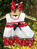 DREAM SALE 3-6 MONTHS BABY GIRLS RED & WHITE DOG TRADITIONAL DRESS & HBD