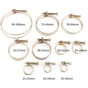 10pcs Double Wire Water Hose Barb Clamp Pipe Clip Hoop Plumbing Fastener Fitting