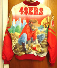 SAN FRANCISCO 49ers med gold Chalk Line polyester jacket 1980s beat-up coat