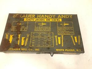Vintage Sexauer Handy Andy No 35 Plastic Anchors Screws Hardware Case Box Index