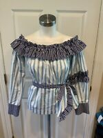 MSGM White & Blue Ruffle Striped Off-The-Shoulder Top, Size 8 (US), 42 (IT)