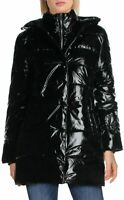 Betsey Johnson Glossy Quilted Long Winter Puffer Coat Size Large Womens Shiny