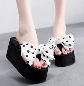 Womens Bowknot Flip Flops Platform Wedge Sandals Slippers High Heels Beach Shoes