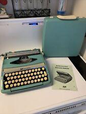 Smith Corona Corsair Deluxe Aqua Blue Portable Typewriter For Parts Or Repair