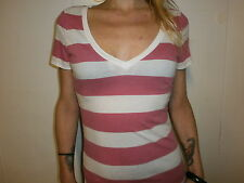AMERICAN EAGLE T SHIRT Pink White Horizontal Stripe V Neck Girl Women JUNIORS