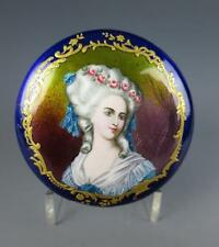 Antique FRENCH KILN FIRED Enamel PORTRAIT Box Snuff Trinket Casket Copper Gold